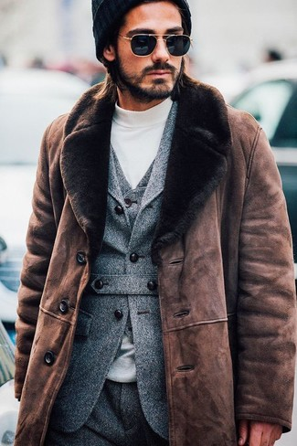 How to wear: brown shearling coat, grey wool blazer, grey wool waistcoat, white turtleneck