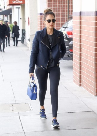 Jessica Alba wearing Navy Shearling Jacket, Charcoal Crew-neck Sweater, Black Leggings, Navy Athletic Shoes