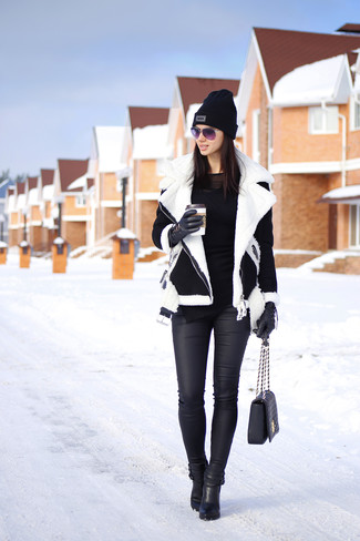 Women's Black and White Shearling Jacket, Black Long Sleeve T-shirt, Black Leather Skinny Jeans, Black Leather Ankle Boots