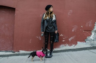 Women's Black Leather Shearling Jacket, Charcoal Knit Oversized Sweater, Black Ripped Skinny Jeans, Charcoal Leather Lace-up Flat Boots