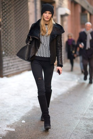A black shearling jacket and black distressed skinny jeans is a versatile combination that will provide you with variety. Finish off your look with black suede knee high boots.