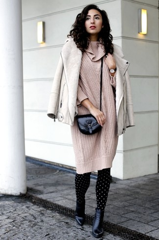 How to wear: beige shearling jacket, beige knit sweater dress, black leather ankle boots, black leather crossbody bag