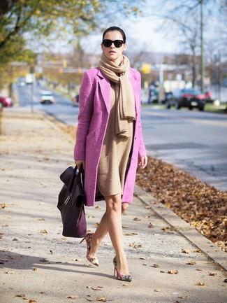 How to wear: beige floral leather pumps, tan wool sheath dress, hot pink coat, tan shawl
