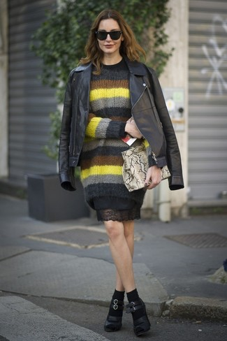 How to wear: black leather pumps, black lace sheath dress, multi colored horizontal striped mohair crew-neck sweater, black leather biker jacket