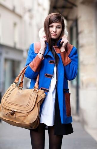 How to wear: tan leather satchel bag, white sheath dress, blue duffle coat, black sleeveless coat