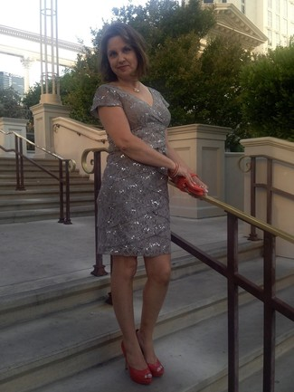 How to wear: grey sequin sheath dress, orange cutout leather pumps, orange leather clutch, gold necklace