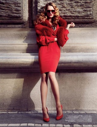 How to wear: red sheath dress, red suede pumps, red fur scarf, red sunglasses