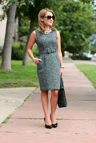 How to wear: grey tweed sheath dress, black leather pumps, black leather tote bag, dark brown sunglasses