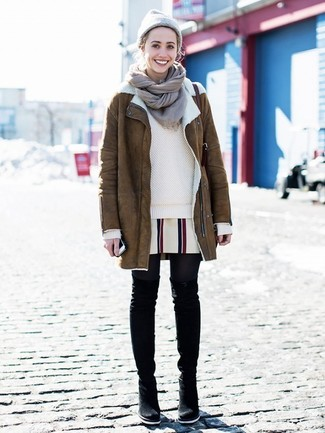 How to wear: black suede over the knee boots, white vertical striped shift dress, beige crew-neck sweater, brown shearling coat