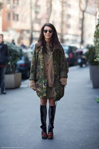 How to wear: burgundy leather pumps, olive shirtdress, brown knit cardigan, dark green camouflage parka