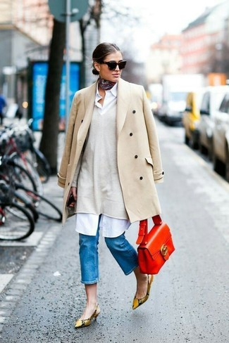 How to wear: tan snake leather pumps, white shirtdress, beige oversized sweater, beige coat