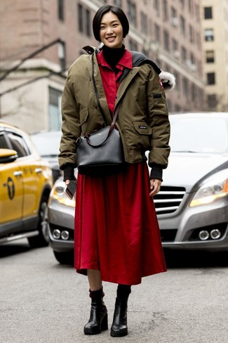 How to wear: black leather wedge ankle boots, red shirtdress, black knit turtleneck, olive puffer jacket