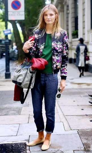 How to wear: navy boyfriend jeans, dark green short sleeve blouse, red quilted leather biker jacket, navy floral bomber jacket