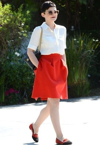 Short sleeve button down shirt full skirt loafers large 11862