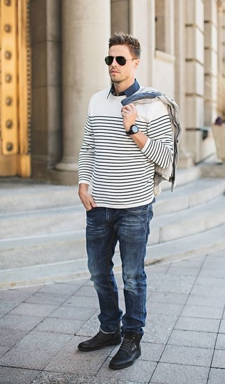 How to wear: navy jeans, navy short sleeve shirt, beige cardigan, white and black horizontal striped crew-neck sweater