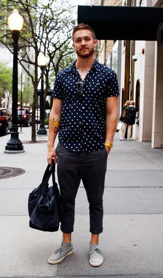 Look sharp without really trying in a navy and white polka dot short sleeve  shirt and 0a980c83d1233