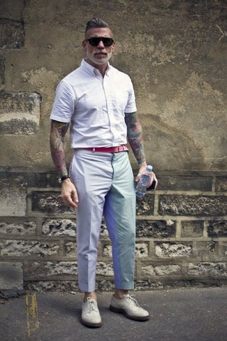 Nick Wooster wearing White Short Sleeve Shirt, Grey Dress Pants, White Leather Brogues, Red Canvas Belt