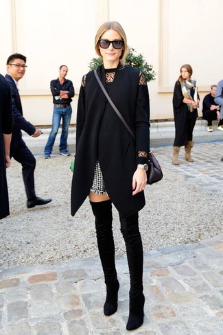 How to wear: black velvet over the knee boots, black and white tweed shorts, black lace crew-neck sweater, black sleeveless coat