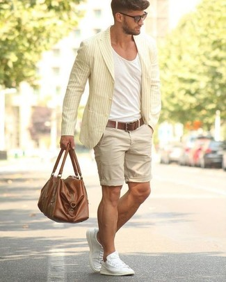 How to wear: white canvas low top sneakers, beige shorts, white crew-neck t-shirt, yellow vertical striped cotton blazer