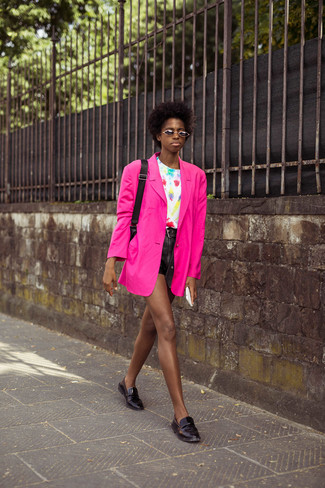Women's Black Leather Loafers, Black Leather Shorts, White Tie-Dye Crew-neck T-shirt, Hot Pink Blazer