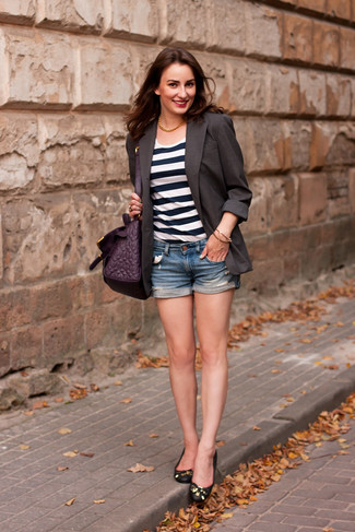 How to wear: black leather ballerina shoes, blue denim shorts, white and navy horizontal striped crew-neck t-shirt, charcoal blazer