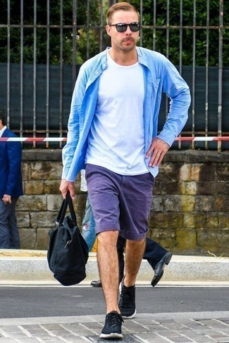 Men's Looks & Outfits: What To Wear In 2020: Consider pairing a light blue long sleeve shirt with violet shorts to feel completely confident in yourself and look trendy. You can get a little creative with footwear and complete your ensemble with black and white athletic shoes.