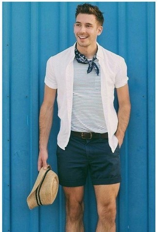 How to wear: beige straw hat, black shorts, white and navy horizontal striped crew-neck t-shirt, white short sleeve shirt