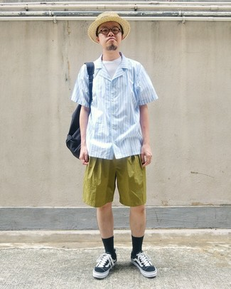 How to wear: black and white canvas low top sneakers, olive shorts, white crew-neck t-shirt, light blue vertical striped short sleeve shirt