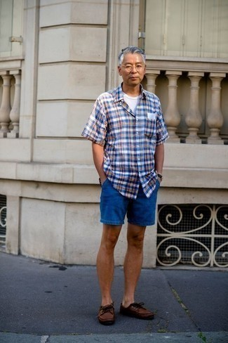 How to Wear Blue Denim Shorts For Men: For a cool and relaxed ensemble, choose a blue plaid short sleeve shirt and blue denim shorts — these two pieces play pretty good together. On the footwear front, this ensemble is completed well with brown leather boat shoes.