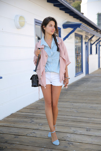 How to Wear a Light Blue Denim Shirt For Women: For a casual and cool look, consider teaming a light blue denim shirt with white denim shorts — these two pieces work really well together. To add a little fanciness to your look, add light blue suede heeled sandals to this look.