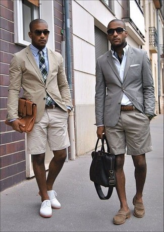 How to wear: brown suede loafers, grey shorts, white dress shirt, grey blazer