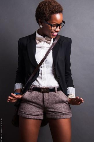 How to wear: dark brown leather crossbody bag, grey wool shorts, white dress shirt, black blazer