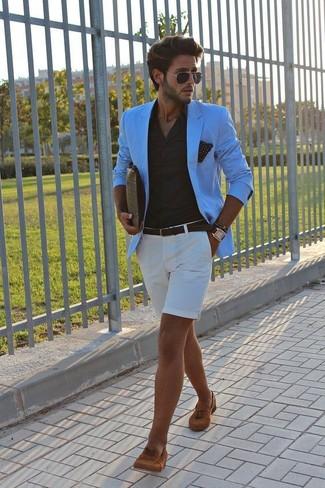 How to wear: tobacco suede tassel loafers, white shorts, black dress shirt, aquamarine blazer