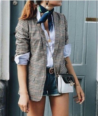 How to wear: black and white leather crossbody bag, blue denim shorts, white dress shirt, grey gingham blazer