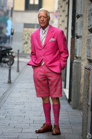 How to wear: brown leather derby shoes, hot pink shorts, white and black vertical striped dress shirt, hot pink blazer