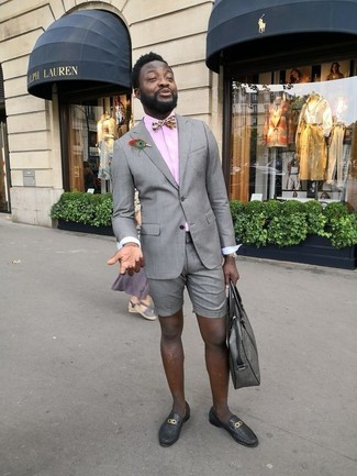 How to wear: black leather loafers, grey shorts, pink dress shirt, grey blazer