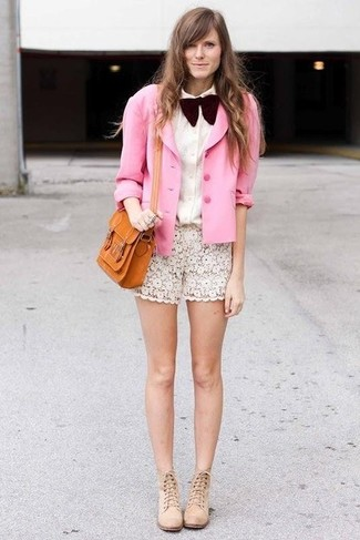 How to wear: beige suede ankle boots, white lace shorts, white dress shirt, pink silk blazer