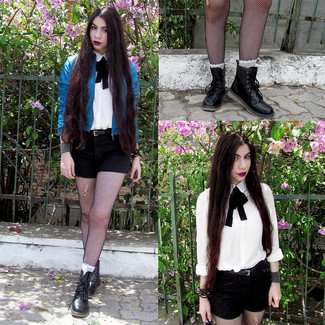 How to wear: black leather lace-up flat boots, black shorts, white dress shirt, blue leather bomber jacket