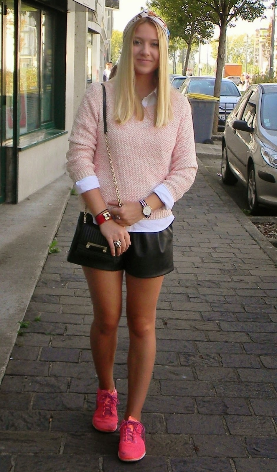 Women S Hot Pink Low Top Sneakers Black Leather Shorts White Dress