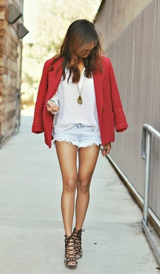 How to wear: brown leopard suede heeled sandals, light blue denim shorts, white henley shirt, red wool blazer