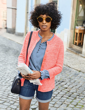 How to wear: black leather crossbody bag, navy denim shorts, light blue long sleeve blouse, red tweed jacket
