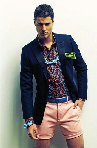 How to wear: light blue bow-tie, pink shorts, navy print long sleeve shirt, navy blazer
