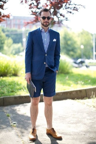 How to wear: tan leather brogues, navy shorts, white and blue vertical striped long sleeve shirt, blue cotton blazer