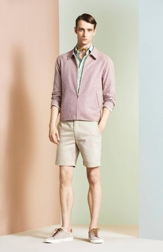 How to wear: beige low top sneakers, beige shorts, mint print long sleeve shirt, pink bomber jacket