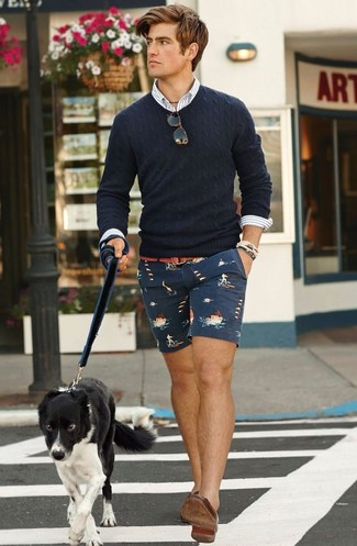 How to wear: brown leather loafers, navy print shorts, white vertical striped long sleeve shirt, navy cable sweater