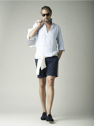 How to Wear a White Crew-neck Sweater For Men: For comfort dressing with a contemporary spin, reach for a white crew-neck sweater and navy shorts. If you want to immediately class up your outfit with footwear, add navy suede loafers to the equation.