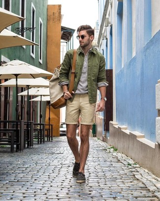 How to wear: charcoal canvas espadrilles, beige shorts, white vertical striped linen long sleeve shirt, olive shirt jacket