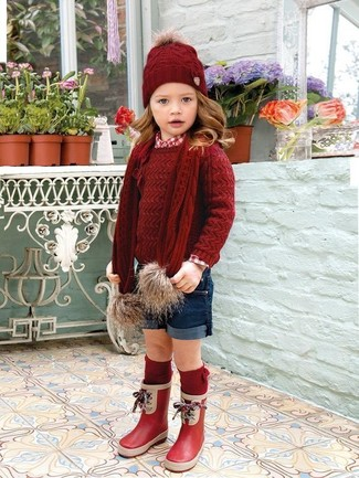 How to wear: red rain boots, navy shorts, red long sleeve shirt, red sweater