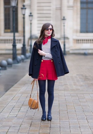 How to wear: navy leather loafers, red shorts, white and navy horizontal striped long sleeve t-shirt, navy pea coat