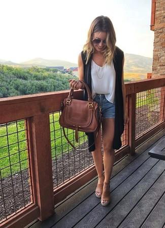How to wear: tan leather wedge sandals, blue denim shorts, white chiffon sleeveless top, black sleeveless coat